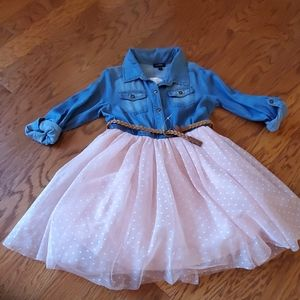 New Zunie Denim and Pink Tulle Skirt Dress